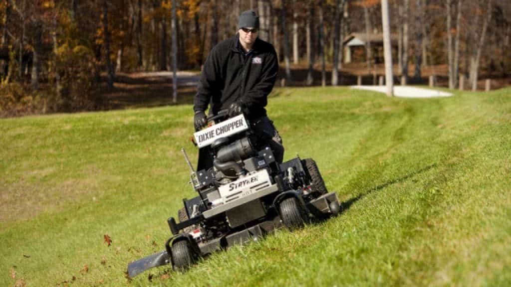 mower on a hill