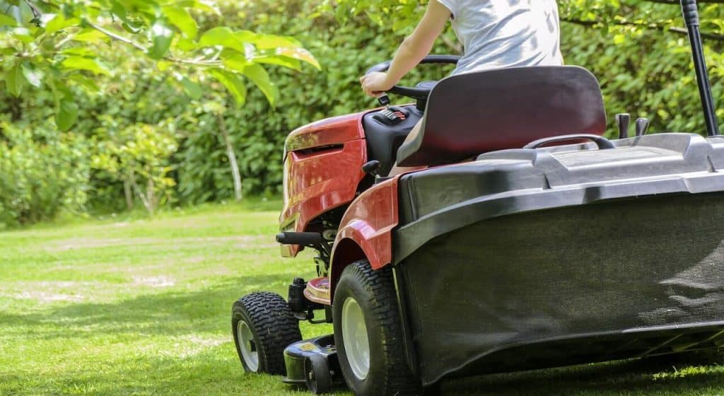 riding mower on a hill